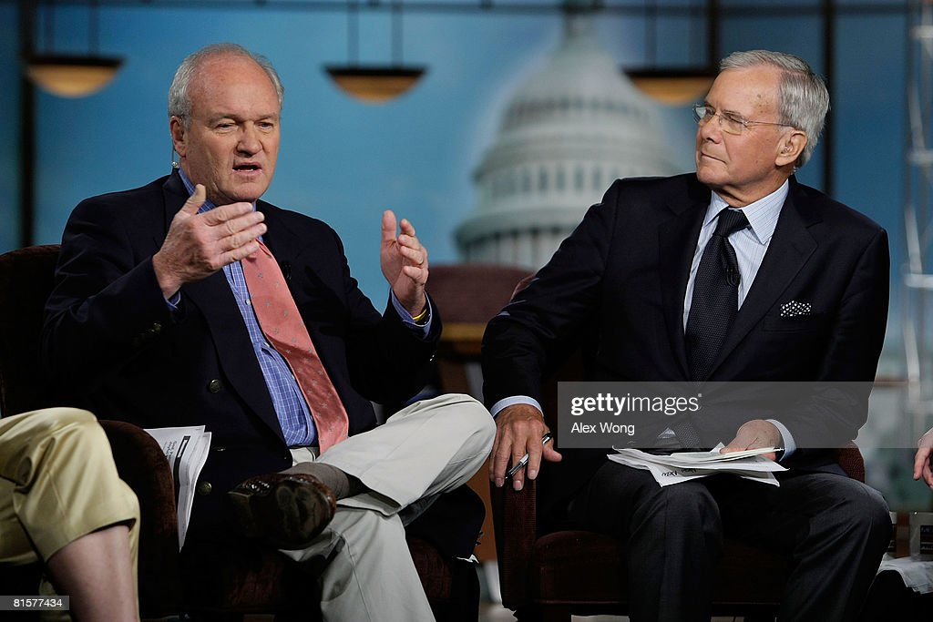 Mike Barnicle of MSNBC News (L) speaks as former NBC Nightly News anchor Tom Brokaw (R) looks on during a taping of 'Meet the Press' in memory of the late moderator Tim Russert June 15, 2008 at the NBC studios in Washington, DC. Russert died June 13, 2008 of a heart attack while at the NBC bureau in Washington at the age of 58.