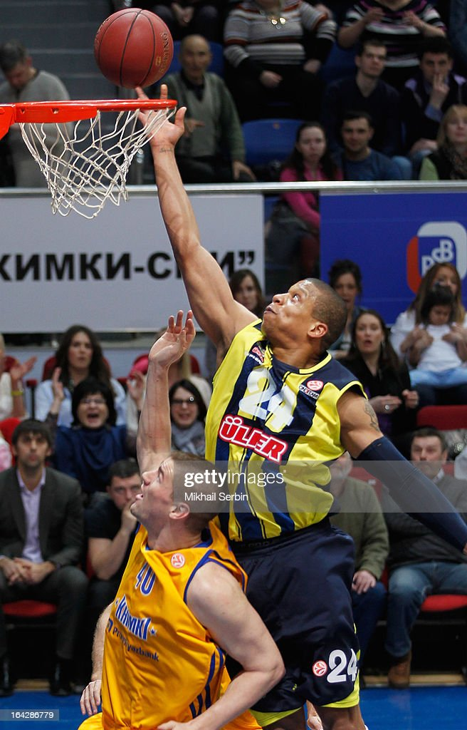 Mike Batiste #24 of Fenerbahce Ulker Istanbul in action during the 20122013 Turkish Airlines Euroleague Top 16 Date 12 between BC Khimki Moscow...