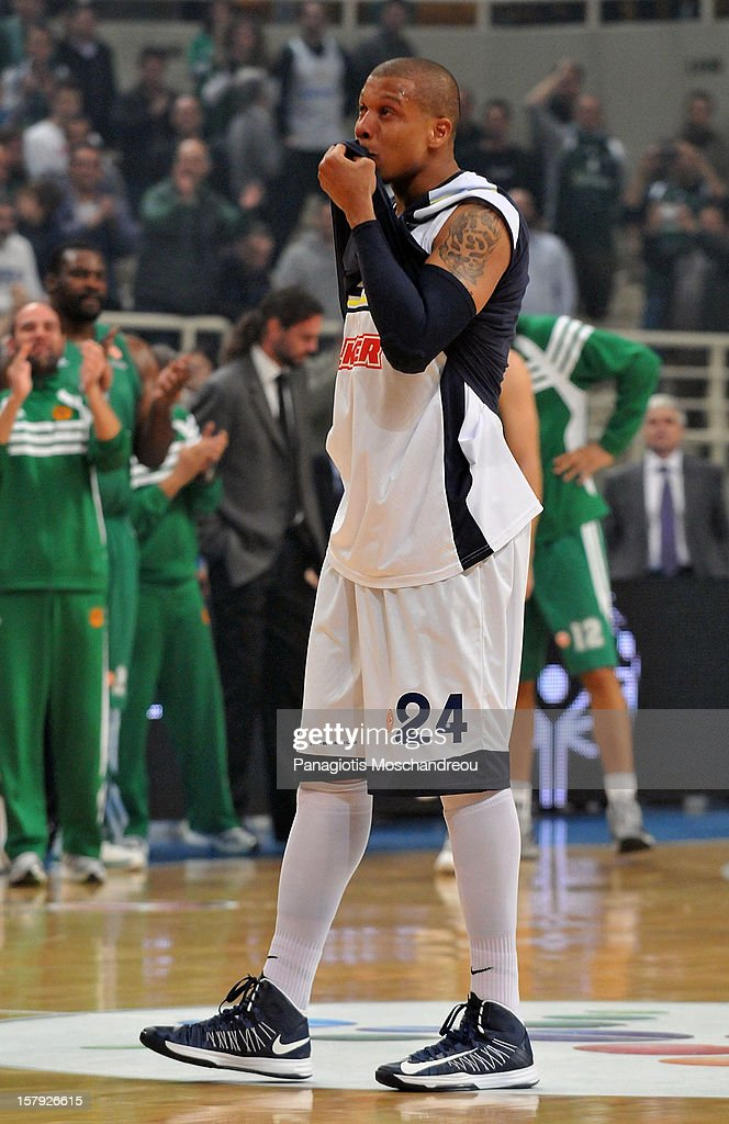 Mike Batiste #24 of Fenerbahce Ulker Istanbul reacts during the 20122013 Turkish Airlines Euroleague Regular Season Game Day 9 between Panathinaikos...
