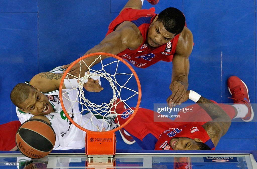 Mike Batiste #8 of Panathinaikos Athens competes with Kyle Hines #42 of CSKA Moscow during the Turkish Airlines Euroleague Basketball Play Off Game 1...