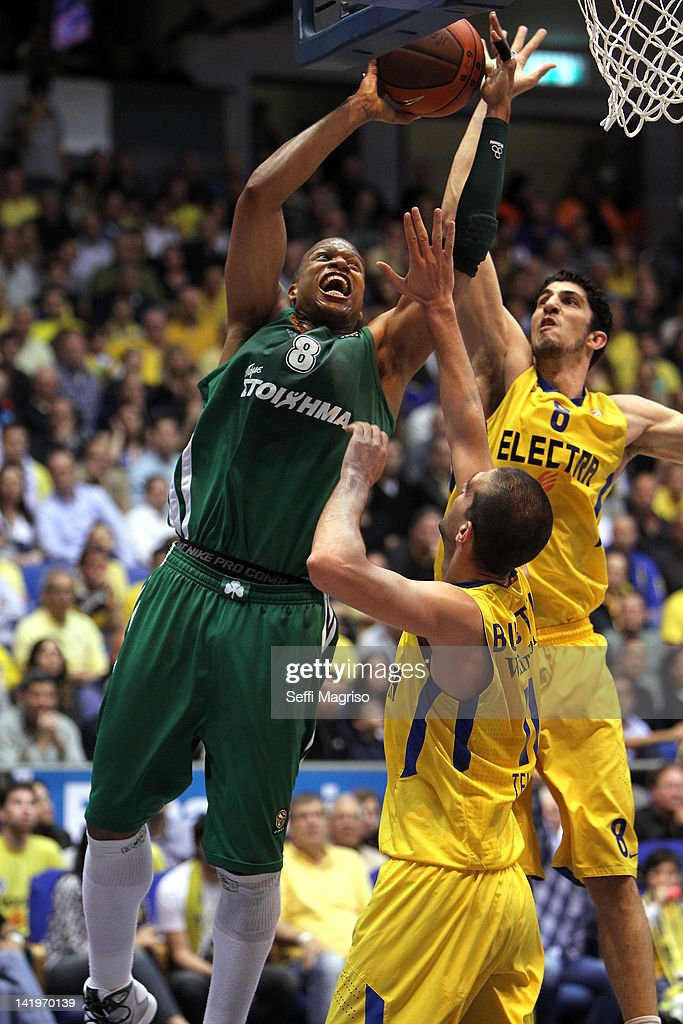 <a gi-track='captionPersonalityLinkClicked' href=/galleries/search?phrase=Mike+Batiste&family=editorial&specificpeople=784344 ng-click='$event.stopPropagation()'>Mike Batiste</a>, #8 of Panathinaikos Athens competes with Lior Eliyahu, #8 of Maccabi Electra Tel Aviv during the Turkish Airlines Euroleague Play Off C Game Day 3 between Maccabi Electra Tel Aviv v Panathinaikos Athens at Nokia Arena on March 27, 2012 in Tel Aviv, Israel.