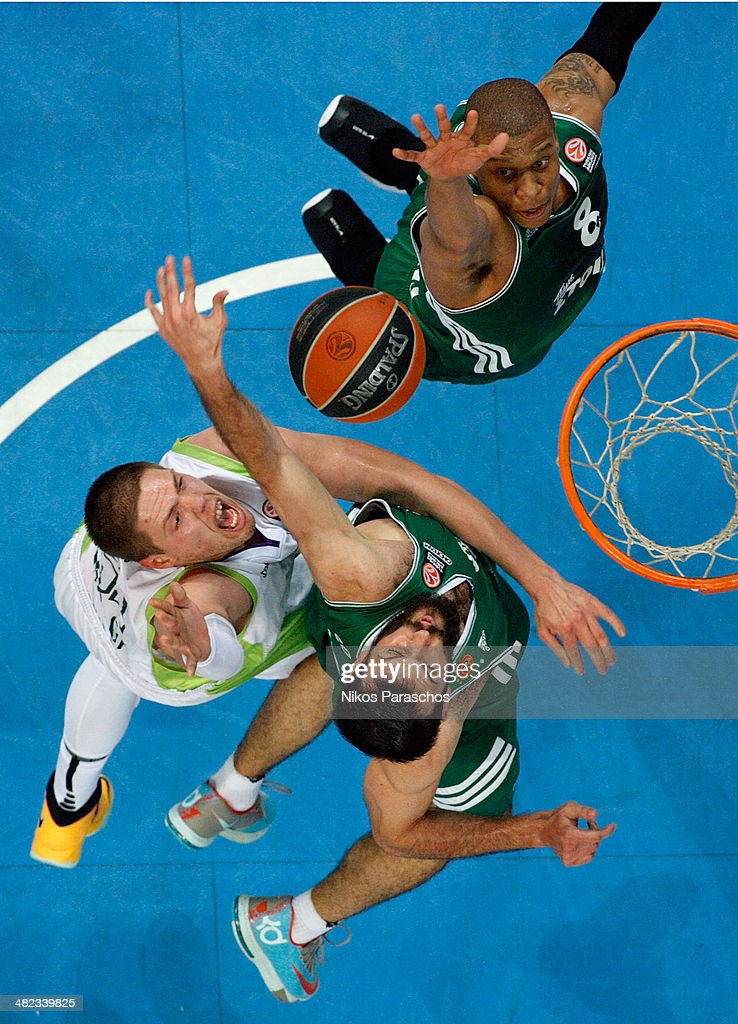 <a gi-track='captionPersonalityLinkClicked' href=/galleries/search?phrase=Mike+Batiste&family=editorial&specificpeople=784344 ng-click='$event.stopPropagation()'>Mike Batiste</a>, #8 of Panathinaikos Athens competes with Vladimir Stimac, #51 of Unicaja Malaga during the 2013-2014 Turkish Airlines Euroleague Top 16 Date 13 game between Panathinaikos Athens v Unicaja Malaga at Olympic Sports Center Athens on April 3, 2014 in Athens, Greece.