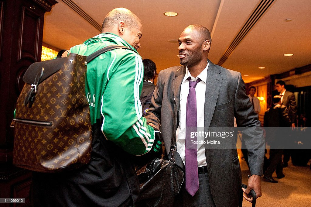 Mike Batiste #8 of Panathinaikos Athens greets to Pete Mickeal #33 of FC Barcelona Regal as they arrive ahead of the Turkish Airlines Euroleague...