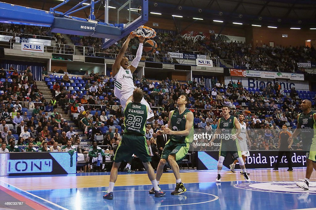Mike Batiste #8 of Panathinaikos Athens in action during the 20132014 Turkish Airlines Euroleague Top 16 Date 6 game between Unicaja Malaga v...
