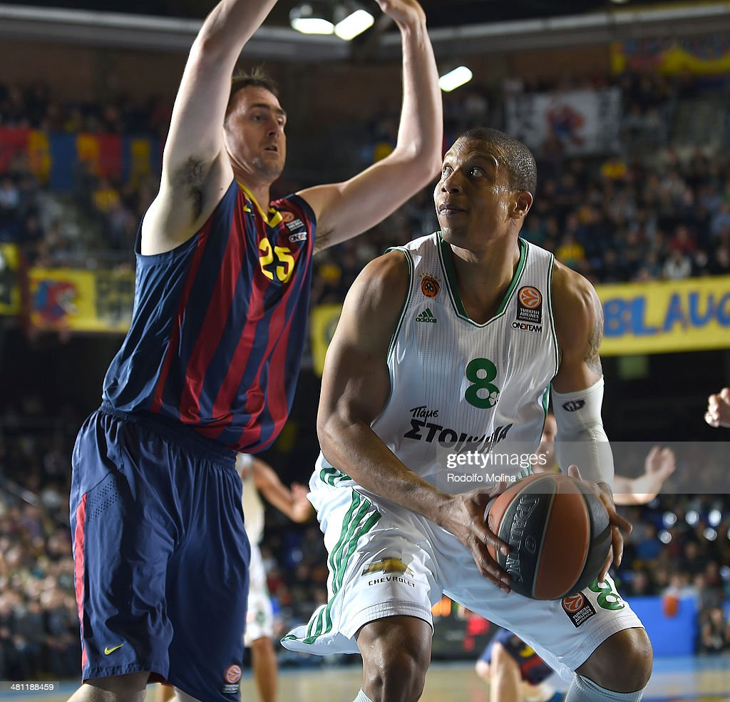 Mike Batiste #8 of Panathinaikos Athens in action during the 20132014 Turkish Airlines Euroleague Top 16 Date 12 game between FC Barcelona Regal v...