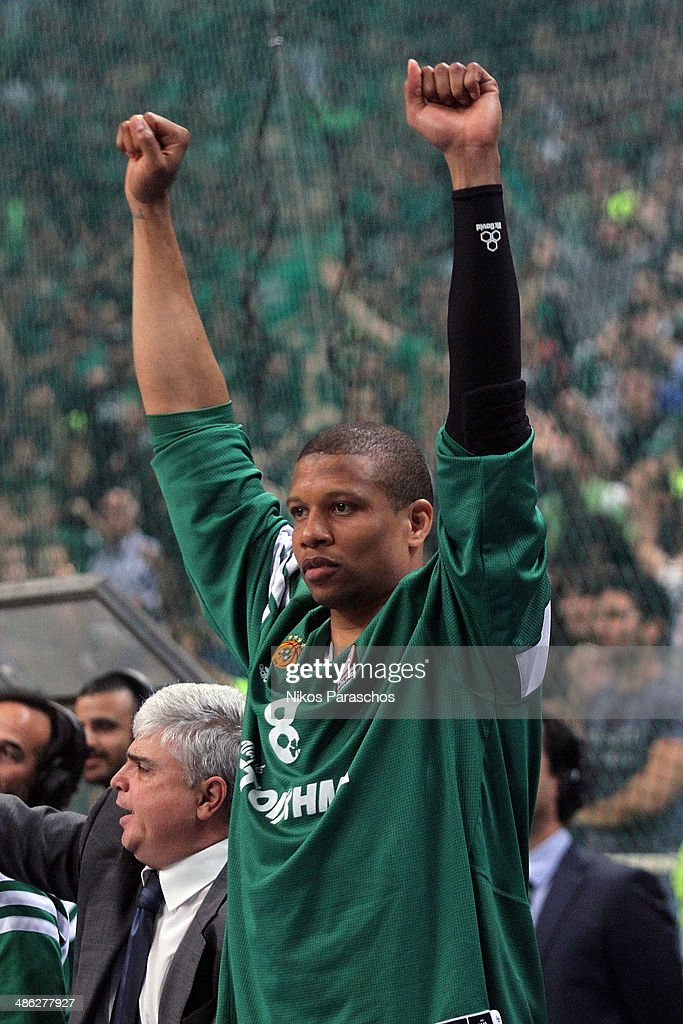 Mike Batiste #8 of Panathinaikos Athens reacts during the Turkish Airlines Euroleague Basketball Play Off Game 4 between Panathinaikos Athens v CSKA...