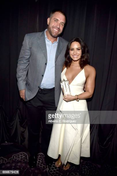 Mike Bayer and honoree Demi Lovato attend UCLA Semel Institute's 'Open Mind Gala' at The Beverly Hilton Hotel on March 22 2017 in Beverly Hills...
