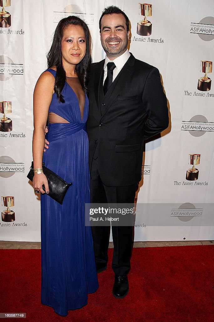 Mike Beaulieu (R) and guest arrive at the 40th Annual Annie Awards held at Royce Hall on the UCLA Campus on February 2, 2013 in Westwood, California.