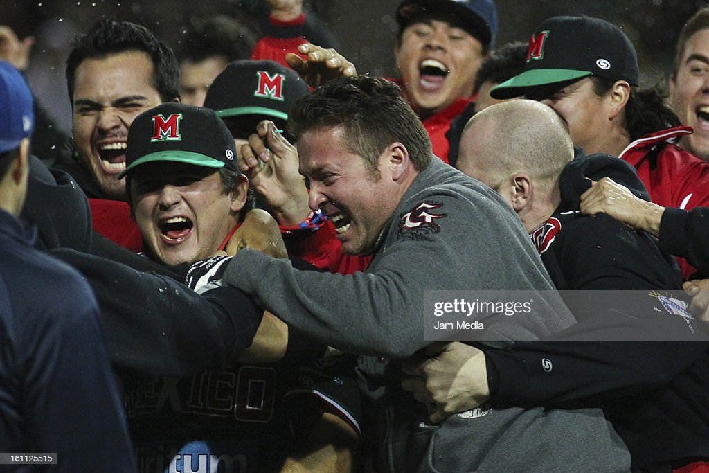 Mike Benacka of Mexico, celebrate during the Final Caribbean Series Baseball 2013 in Sonora Stadium on february 7, 2013 in Hermosillo, Mexico.