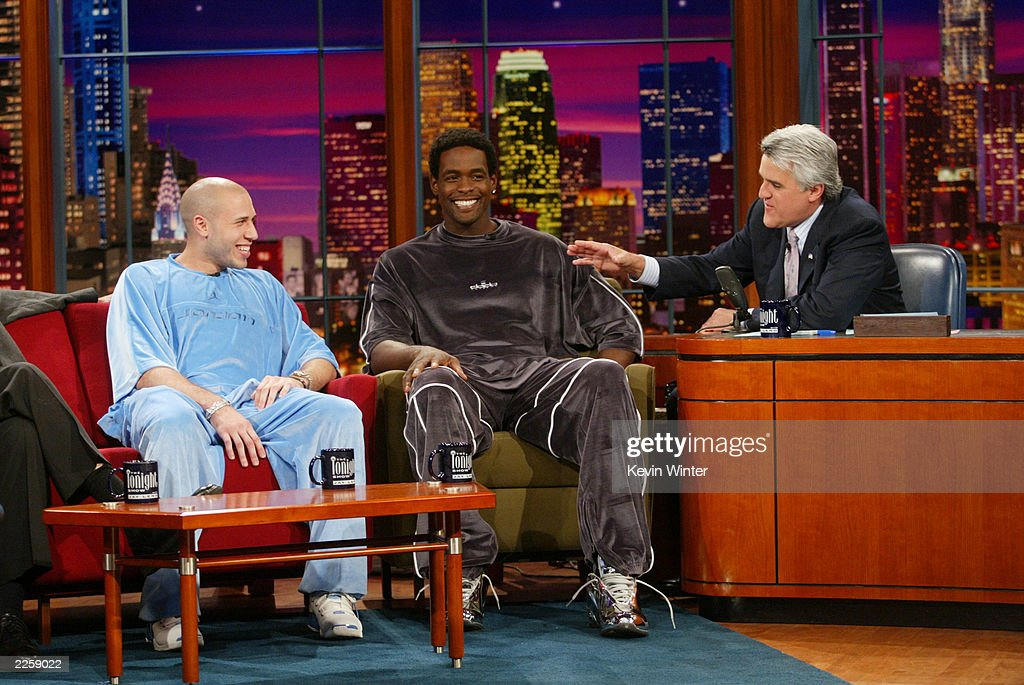 Mike Bibby and Chris Webber at 'The Tonight Show with Jay Leno' at the NBC Studios in Burbank, Ca. Friday, June 7, 2002. Photo by Kevin Winter/ImageDirect.
