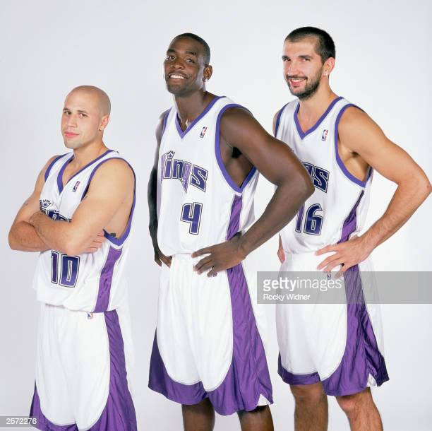 Mike Bibby Chris Webber Predrag Stojakovic of the Sacramento Kings pose for a portrait during Sacramento Kings Media Day at Kings Practice Facility...