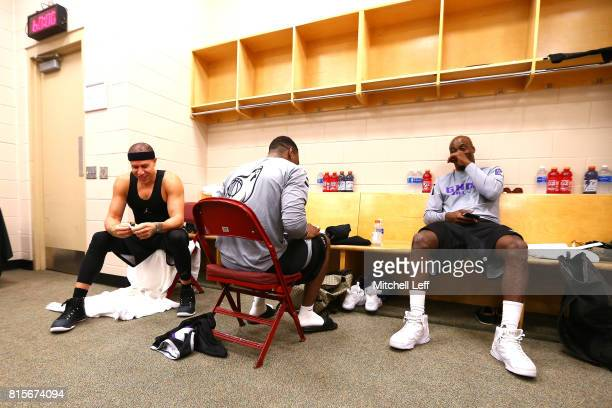Mike Bibby Marcus Banks and Ricky Davis of Ghost Ballers prepare in the locker room during week four of the BIG3 three on three basketball league at...