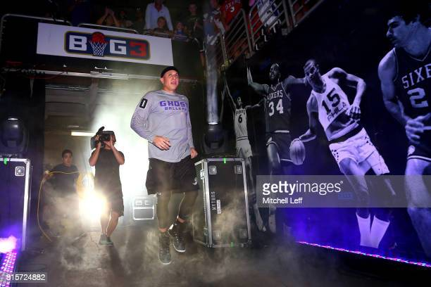 Mike Bibby of Ghost Ballers is introduced before the game against Power during week four of the BIG3 three on three basketball league at Wells Fargo...