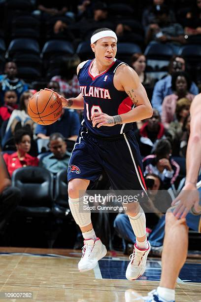 Mike Bibby of the Atlanta Hawks moves the ball against the Washington Wizards on November 25 2010 at Philips Arena in Atlanta Georgia NOTE TO USER...