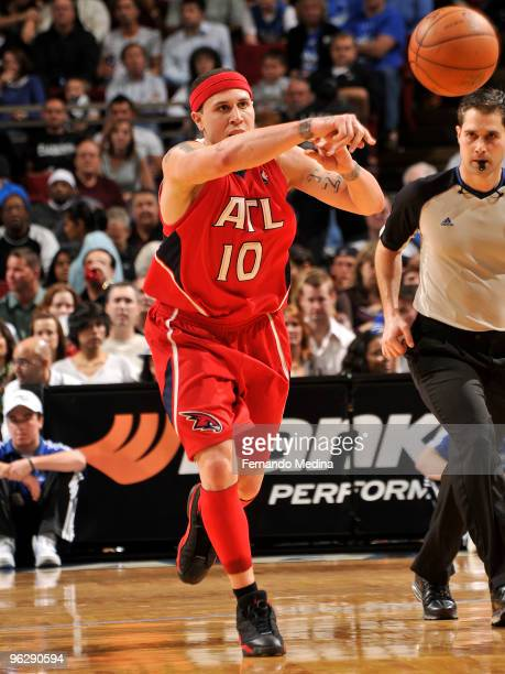 Mike Bibby of the Atlanta Hawks passes the ball up the court against the Orlando Magic during the game on January 30 2010 at Amway Arena in Orlando...