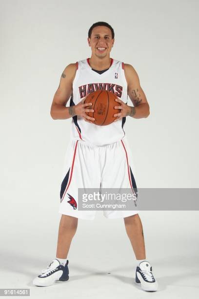 Mike Bibby of the Atlanta Hawks poses for a portrait during 2009 NBA Media Day on September 28 2009 at Philips Arena in Atlanta Georgia NOTE TO USER...