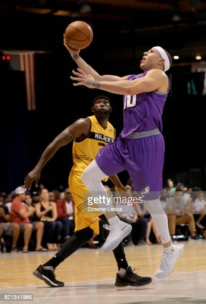 Mike Bibby of the Ghost Ballers attempts a shot against the Killer 3s during week five of the BIG3 three on three basketball league at UIC Pavilion...