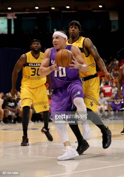 Mike Bibby of the Ghost Ballers attempts a shot while being guarded by Eddie Robinson of the Killer 3s during week five of the BIG3 three on three...