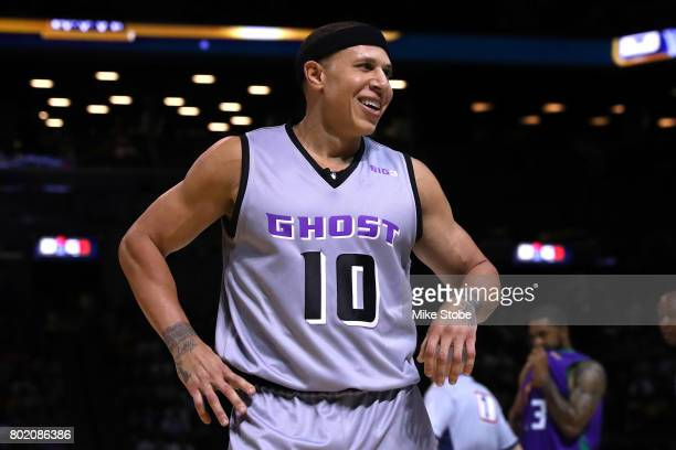 Mike Bibby of the Ghost Ballers looks on in the game against the 3 Headed Monsters during week one of the BIG3 three on three basketball league at...