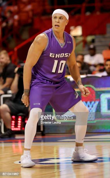 Mike Bibby of the Ghost Ballers reacts during the game against the Killer 3s during week five of the BIG3 three on three basketball league at UIC...