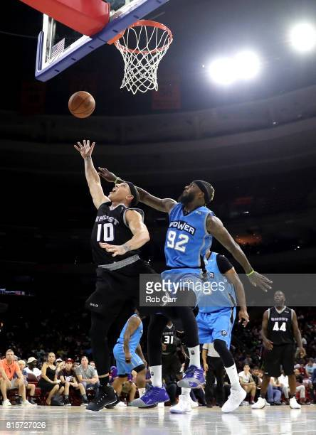 Mike Bibby of the Ghost Ballers shoots against DeShawn Stevenson of Power during week four of the BIG3 three on three basketball league at Wells...