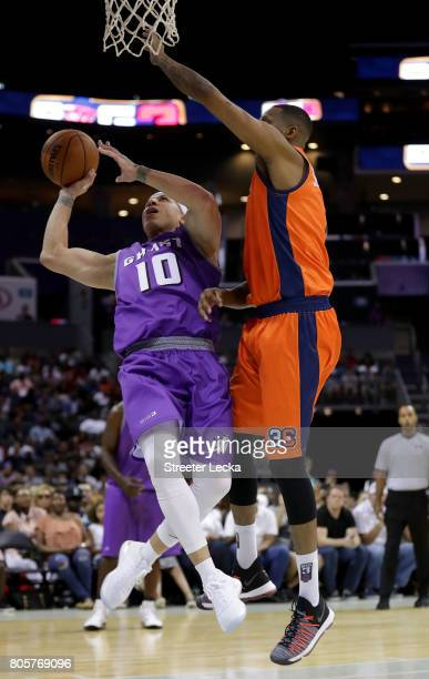 Mike Bibby of the Ghost Ballers takes an off balance shot during week two of the BIG3 three on three basketball league at Spectrum Center on July 2...