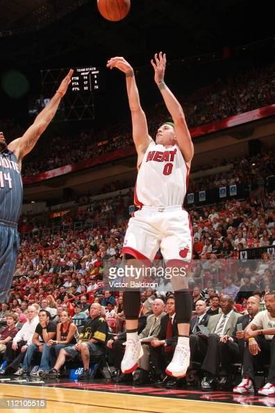 Mike Bibby of the Miami Heat shoots the ball during a game against the Charlotte Bobcats on April 8 2011 at American Airlines Arena in Miami Florida...