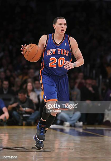 Mike Bibby of the New York Knicks drives down court against the Los Angeles Lakers at Staples Center on December 29 2011 in Los Angeles California...