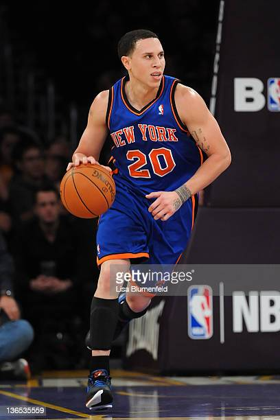 Mike Bibby of the New York Knicks drives the ball upcourt during the game against the Los Angeles Lakers at Staples Center on December 29 2011 in Los...