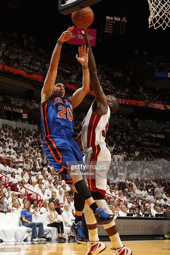 Mike Bibby #20 of the New York Knicks shoots against Joel Anthony #50 of the Miami Heat in Game One of the Eastern Conference Quarterfinals during the 2012 NBA Playoffs on April 28, 2012 at American Airlines Arena in Miami, Florida.
