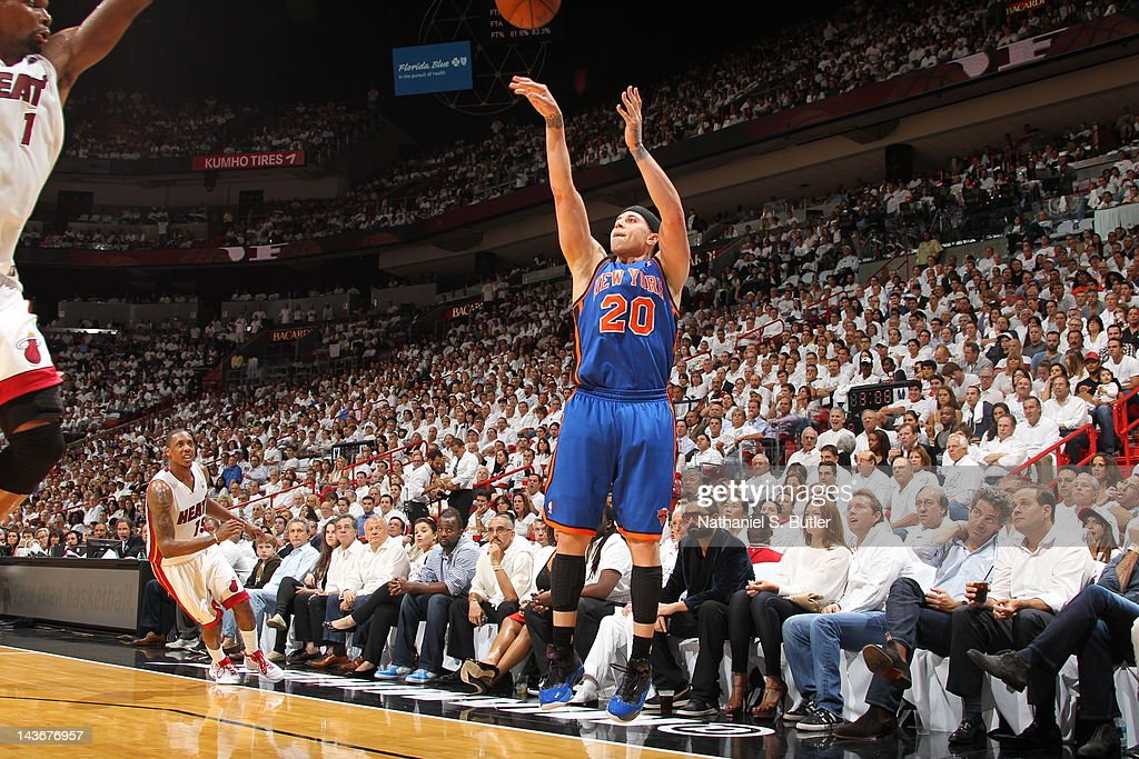 Mike Bibby #20 of the New York Knicks shoots against the Miami Heat in Game Two of the Eastern Conference Quarterfinals during the 2012 NBA Playoffs on April 30, 2012 at American Airlines Arena in Miami, Florida.