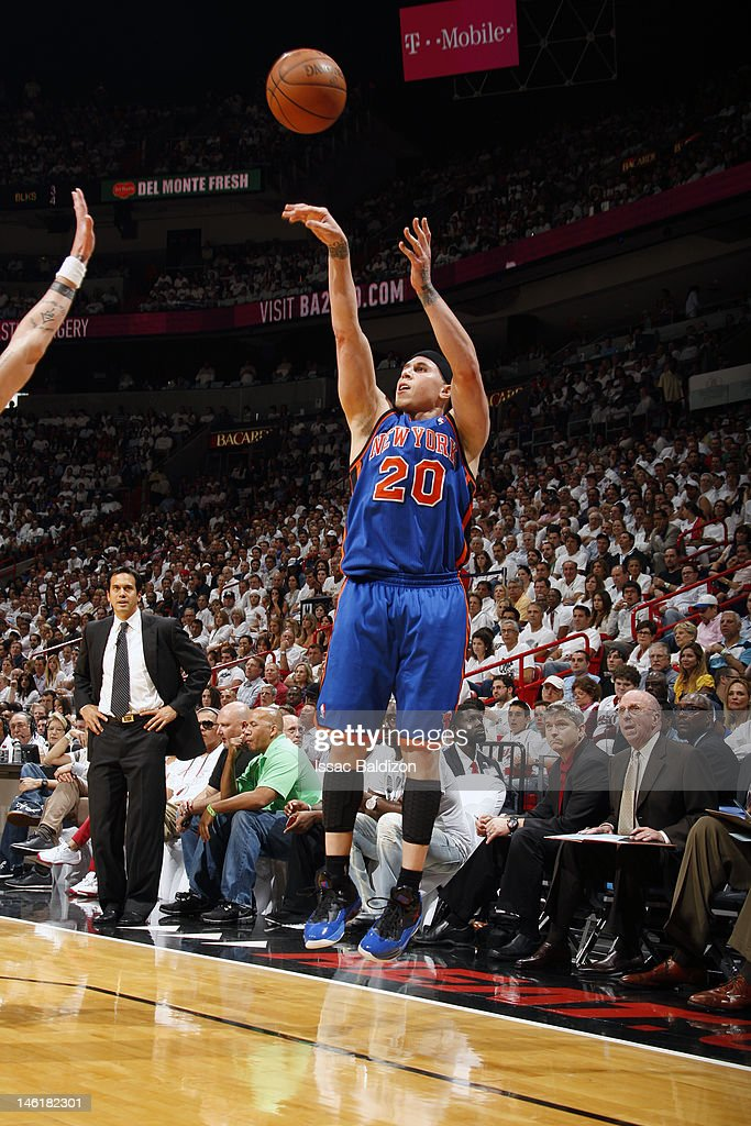 Mike Bibby #20 of the New York Knicks shoots against the Miami Heat in Game Five of the Eastern Conference Quarterfinals during the 2012 NBA Playoffs on May 9, 2012 at American Airlines Arena in Miami, Florida.