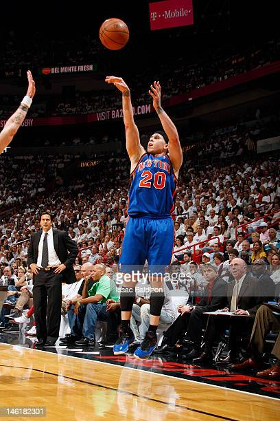 Mike Bibby of the New York Knicks shoots against the Miami Heat in Game Five of the Eastern Conference Quarterfinals during the 2012 NBA Playoffs on...