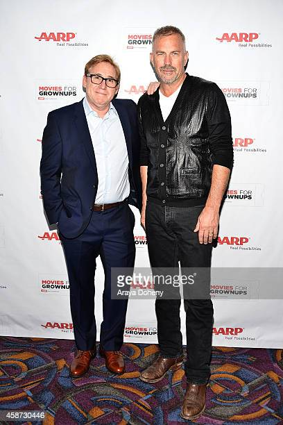 Mike Binder and Kevin Costner attend AARP's 2nd Annual Movies For Grownups Film Showcase 'Black and White' at Regal Cinemas LA Live on November 9...
