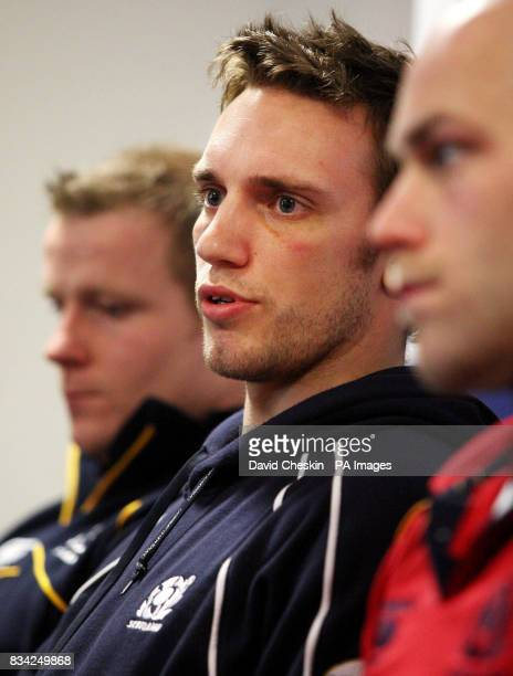 Mike Blair Scotland rugby captain with Rory Lawson and Simon Webster during a press conference at Murrayfield Edinburgh