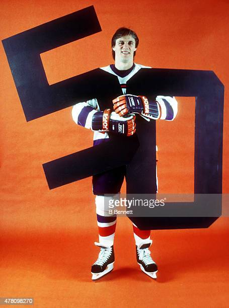 Mike Bossy of the New York Islanders celebrates a 50 goal season at the Nassau Coliseum in Uniondale New York