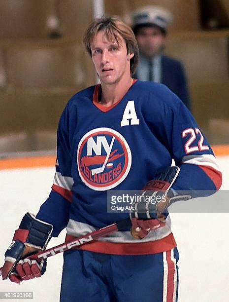 Mike Bossy of the New York Islanders takes warmup prior to a game against the Toronto Maple Leafs on November 6 1985 at Maple Leaf Gardens in Toronto...