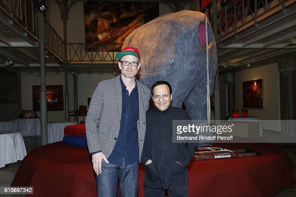Mike Bouchet and Azzedine Alaia attend the Contemporary Artist Mike Bouchet Exhibition Opening at Azzedine Alaia Gallery on October 16 2016 in Paris...
