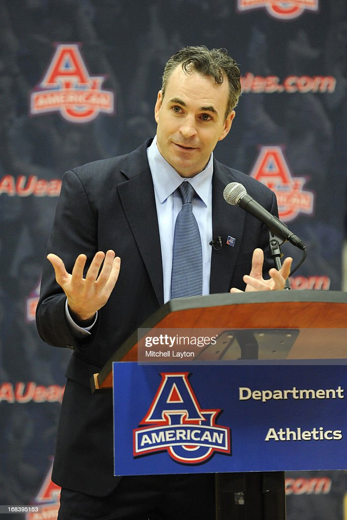 Mike Brennan addresses the media after being announced as the new mens basketball coach at American University on April 30, 2013 at Bender Arena in Washington, DC.