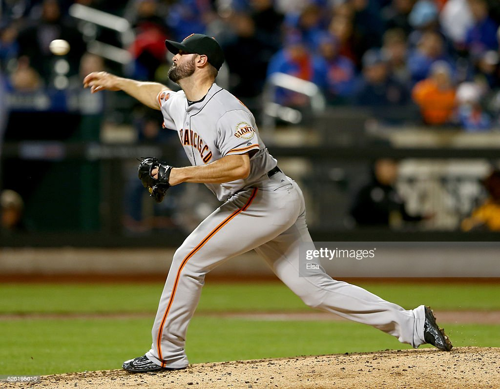 Mike Broadway #57 of the San Francisco Giants delivers a pitch in the third inning against the New York Mets at Citi Field on April 29, 2016 in the Flushing neighborhood of the Queens borough of New York City.