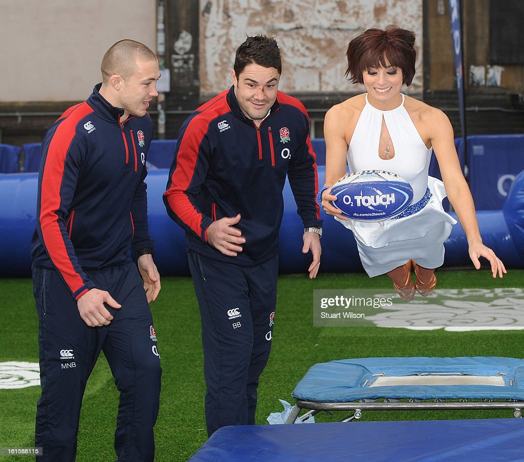 Mike Brown, <a gi-track='captionPersonalityLinkClicked' href=/galleries/search?phrase=Brad+Barritt&family=editorial&specificpeople=4542508 ng-click='$event.stopPropagation()'>Brad Barritt</a> and Flavia Cacace attend a photocall to launch the National Touch Rugby Campaign at Ely's Yard on February 12, 2013 in London, England.