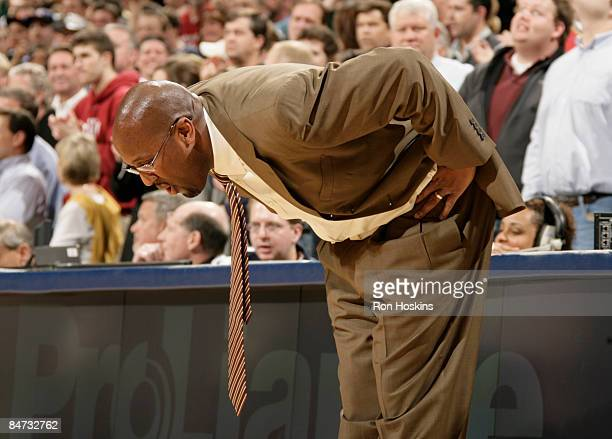 Mike Brown head coach of the Cleveland Cavaliers reacts to the Indiana Pacers defeating the Cavs 9695 at Conseco Fieldhouse on February 10 2009 in...