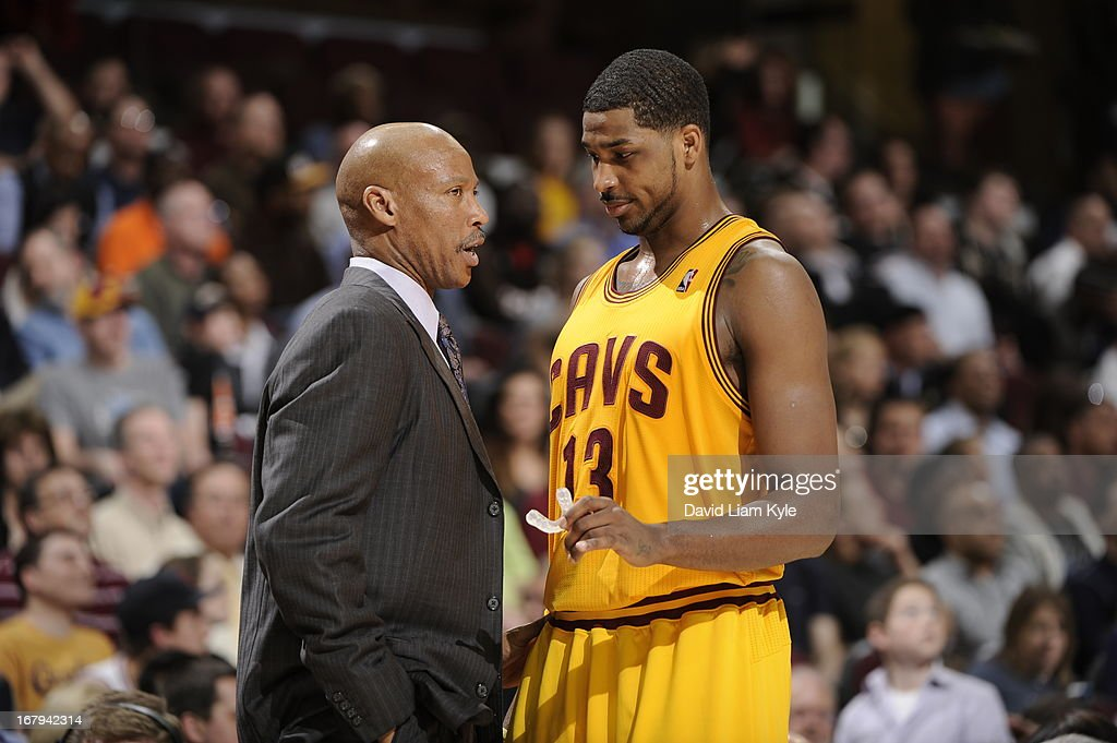 Mike Brown, Head Coach of the Cleveland Cavaliers, talks with Tristan Thompson #13 during the game against the Miami Heat at The Quicken Loans Arena on April 15, 2013 in Cleveland, Ohio.