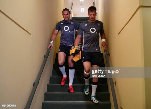 Mike Brown of England and Harry Mallinder of England make their way to the pitch prior to the ICBC Cup match between Argentina and England at the...
