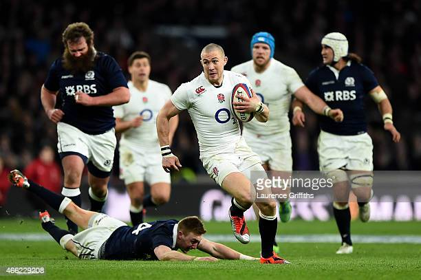 Mike Brown of England breaks away to score a try that is later disallowed during the RBS Six Nations match between England and Scotland at Twickenham...