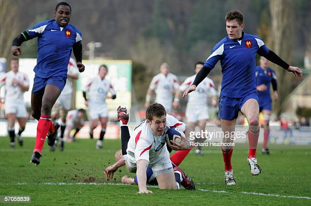 Mike Brown of England scrambles for the line to score a try during the U21 Six Nations Championship match between France U21's and England U21's at...