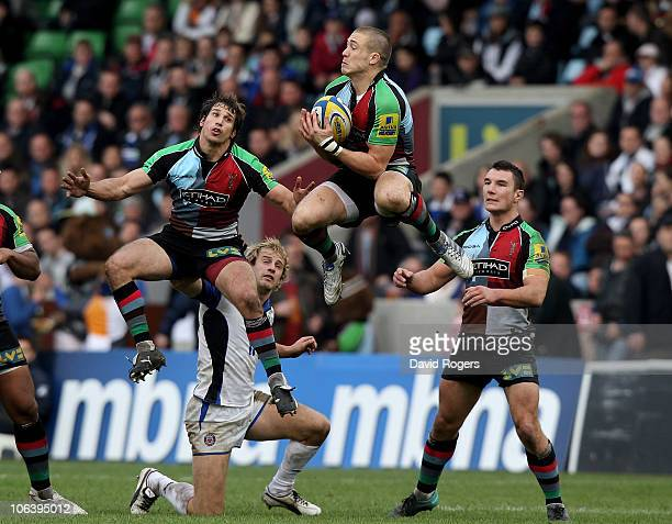Mike Brown of Harlequins catches the high ball during the Aviva Premiership match between Harlequins and Bath at the Stoop on October 31 2010 in...