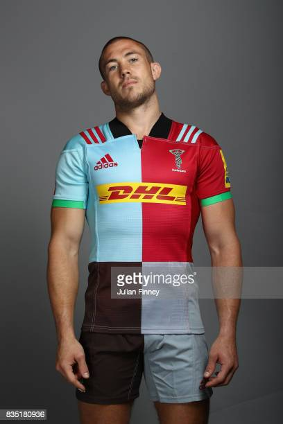 Mike Brown of Quins poses for a portrait during the Harlequins photocall for the 20172018 Aviva Premiership Rugby season at The Stoop on August 18...