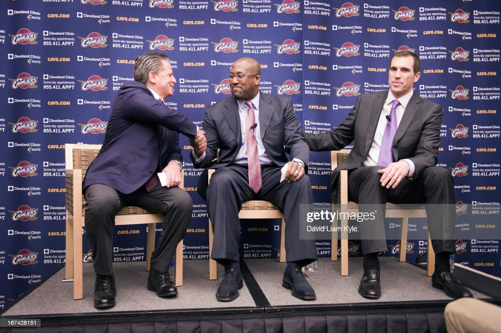 Mike Brown of the Cleveland Cavaliers is introduced as the new head coach alongside majority owner Dan Gilbert and general manager Chris Grant at The Cleveland Clinic Courts on April 24, 2013 in Independence, Ohio in Cleveland, Ohio.