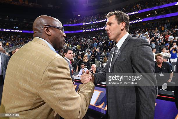 Mike Brown of the Golden State Warriors and Luke Walton of the Los Angeles Lakers during a preseason game on October 15 2016 at the TMobile Arena in...